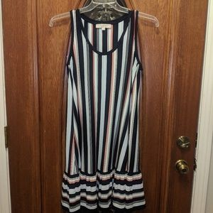 Loft Sundress with Navy and Red Stripes